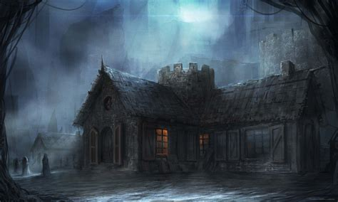 dark village wallpaper art night town building cloudminedesign dark hd wallpaper
