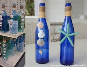 Aqua Blue Vase Shell Craft Decorate Bottles With Shells For A Beach