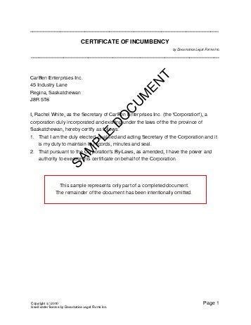 certificate of incumbency canada legal templates