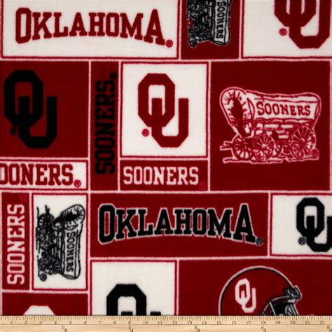 Oklahoma Upholstery by Collegiate Fleece Of Oklahoma Collage White