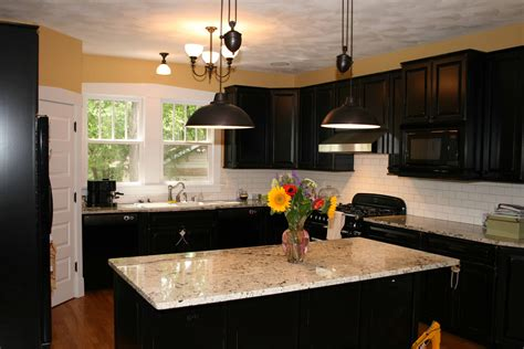 Kitchen Kitchen Backsplash Ideas Black Granite Black Cabinet Kitchen Designs