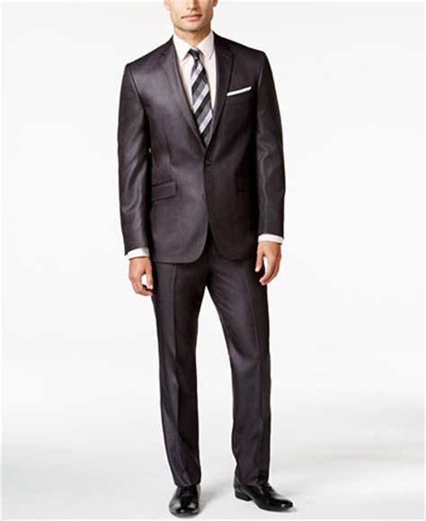 kenneth cole reaction slim fit charcoal basketweave suit