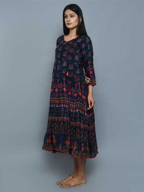 Embroidered Sling Top Bluered 40259 buy blue crepe angrakha dress at theloom