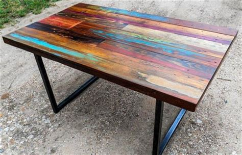 Pallet Table Top by Diy Colorful Top Pallet Dining Table 101 Pallets