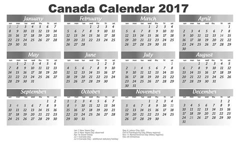 Canadian Calendar Canadian Calendar 2017 2017 Calendar Printable For Free