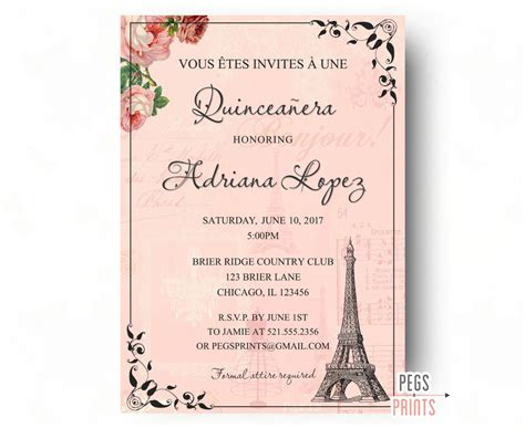 printable quinceanera card paris quinceanera invitation quinceanera invitation