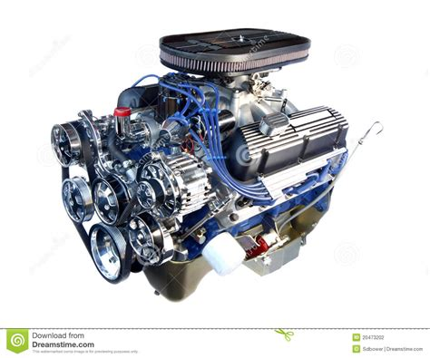 chrome motor high performance chrome v8 engine isolated stock