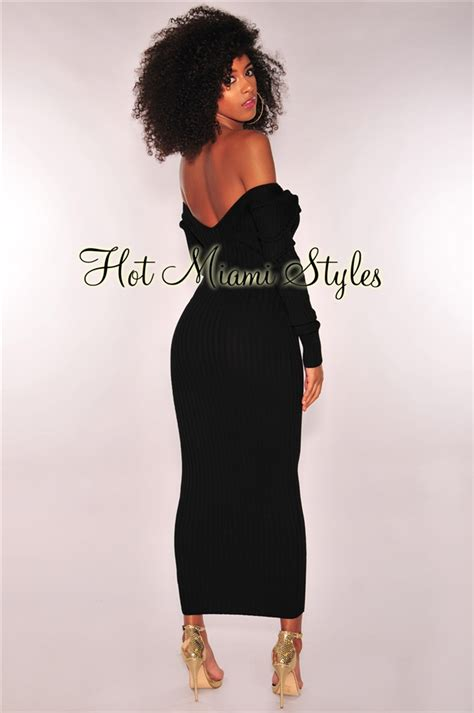 Ribbed Knit Sleeve Dress black ribbed knit sleeves maxi dress