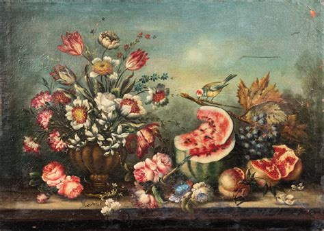 natura morta fiori scuola italiana natura morta con fiori e frutta e un