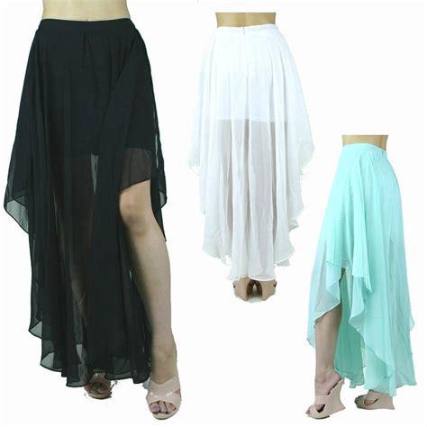 asymmetrical draped maxi skirt double layer chiffon pleat asymmetrical solid long cascade