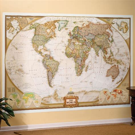 wall mural maps world executive wall map mural national geographic store