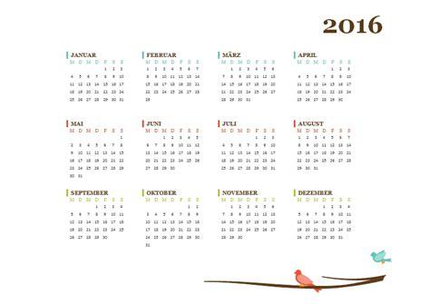 Kalender 2016 Jahresansicht Kostenlose Kalendervorlagen 2016 Office Lernen