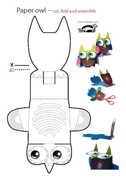 printable paper owl krokotak print printables for kids tavasz pinterest