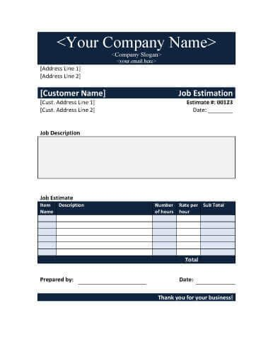 11 Job Estimate Templates And Work Quotes Excel Word Estimate Template Word