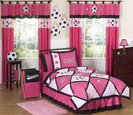Chevron Sheer Curtains Pink Soccer Bedding For Girls Twin Or Full Queen Comforter