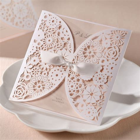 Wedding Invitation Card Decorations by White Ribbon Decoration Wedding Invitation Card Laser Cut