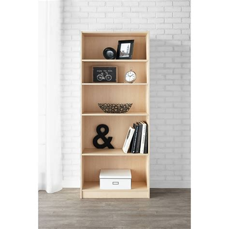 5 Shelf Adjustable Wide Wood Bookcase Storage Bookshelf Mainstays 5 Shelf Bookcase White
