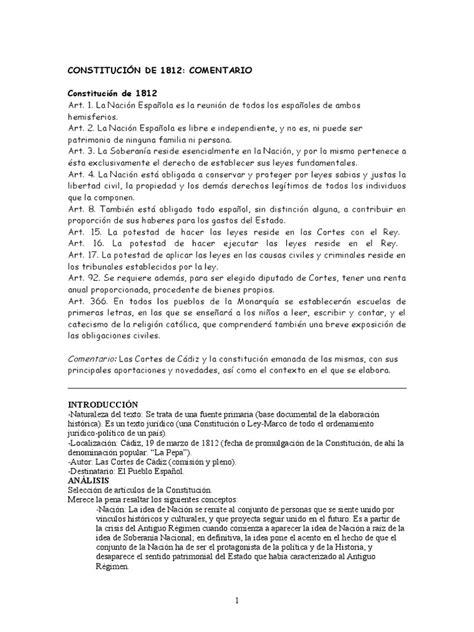 Constitución de 1812 Comentario | Constitución | España