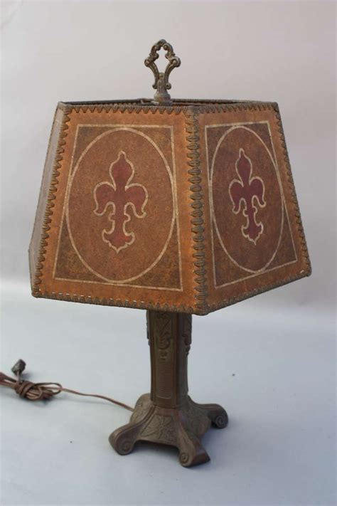Mica Shade Table L by 1920s Revival Table L With Painted Mica Shade