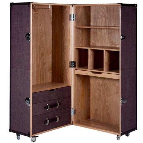 Wooden Portable Closet by Hemingway Trunk Style Portable Wardrobe Wheeled Luggage