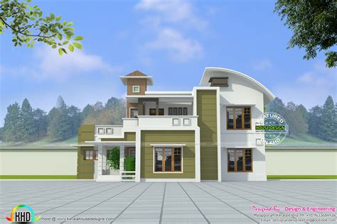 design engineer kerala modern curved roof house in 2574 sq ft kerala home