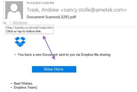 dropbox email fake dropbox email attempt to hack
