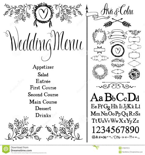 Wedding Menu Font Free by Wedding Menu Font Set And Design Elements Set Stock