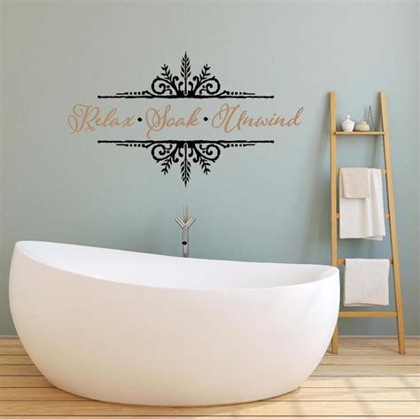 bathroom vinyl wall art relax soak unwind vinyl decal wall sticker words lettering