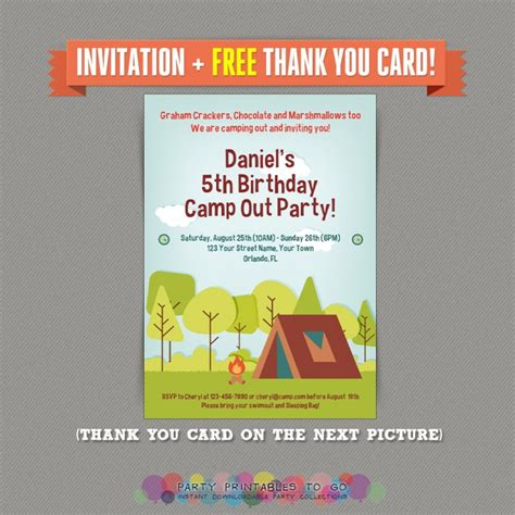 camp out invitations printable free camp out camping birthday party printable invitation