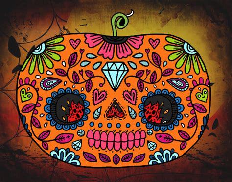 imagenes de halloween o dia de muertos dibujo de calabaza del d 237 a de los muertos pintado por en