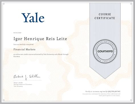 Yale Pre Mba Linkedin by Financial Markets Certificate Yale And Coursera