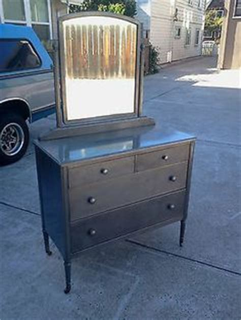 Antique Metal Dresser With Mirror by Antique 1930 S Simmons Metal Dresser With Mirror Industrial Chic Shabby Design For
