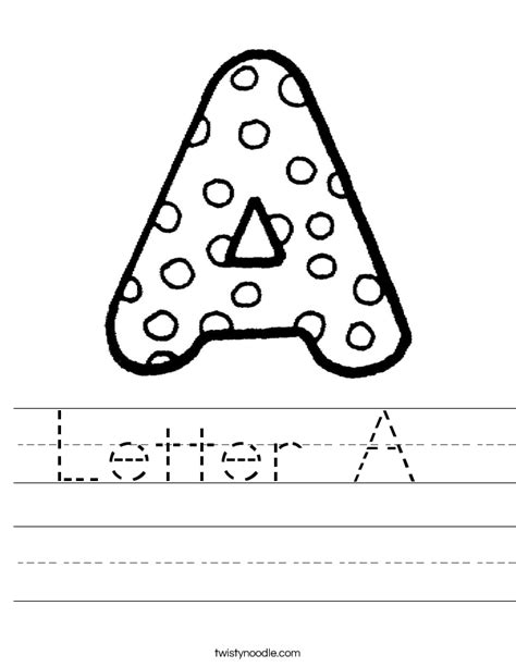 printable letters one per page letter a worksheet twisty noodle