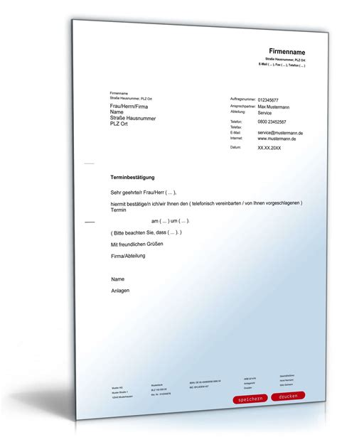 Musterbriefe Geschaeftsbriefe terminbest 228 tigung editierbares muster zum