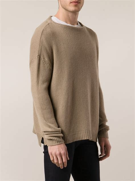 boat neck beige sweater valentino boat neck sweater in beige for men nude