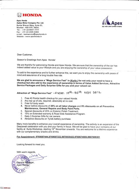 Guarantee Letter For Treatment Honda City Live Your Page 4 Team Bhp