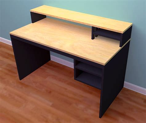 one of a woodworking computer desk from 1 sheet of plywood