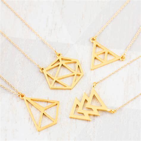 Geometrical Necklace by 18k Gold Geometric Necklace By J S Jewellery