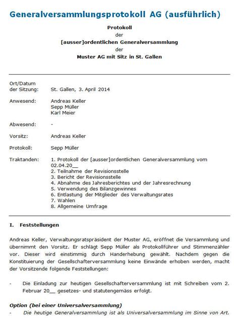 Muster Einladung Generalversammlung protokoll generalversammlung muster zum