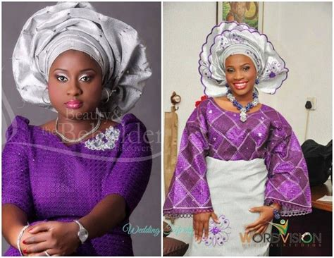 aso oke and lace attires for yoruba traditional weddings yoruba engagement attire in puple and silver grey yes