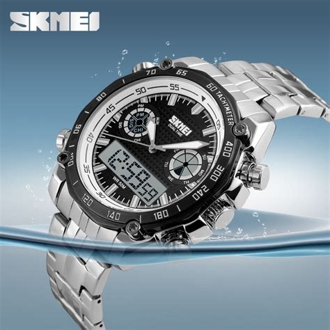 Jam Tangan Pria Actial Dual Time Black skmei jam tangan analog digital pria ad1204 black jakartanotebook