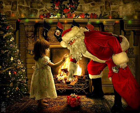 images of christmas father santa enters house through chimney placing secret gifts
