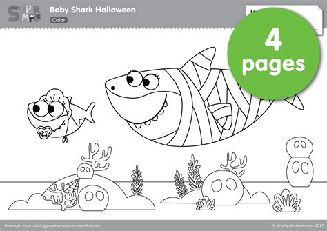 baby shark coloring pages baby shark halloween coloring pages super simple