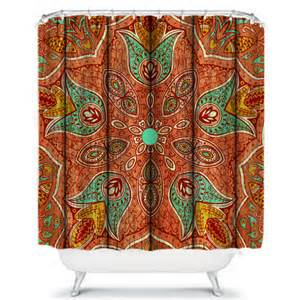 shower curtain bohemian floral weathered wood design coral