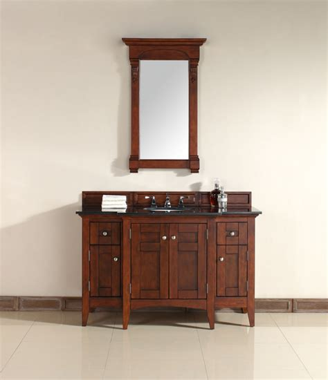 53 inch single sink bathroom vanity in warm cherry