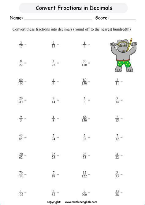 printable math worksheets decimals fractions worksheet on fractions and decimals for grade 6 adding