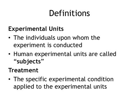 the experimental units of stats chapter 5