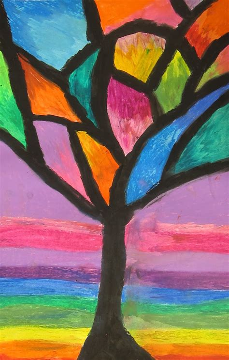 art is basic art teacher blog abstract oil pastel trees 4th 5th grade