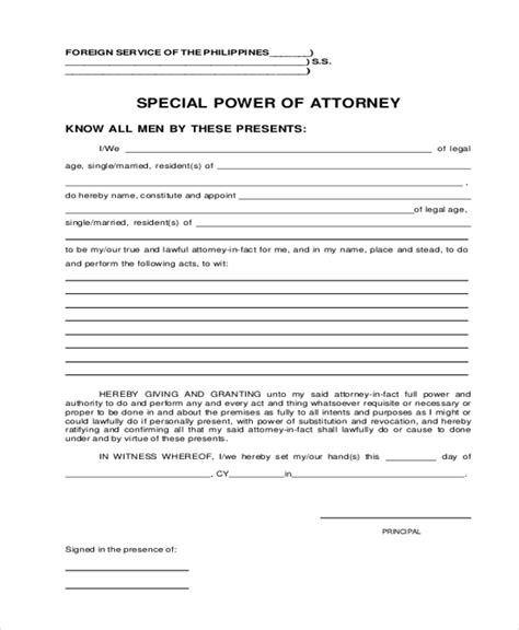 special power of attorney form sle power of attorney form 20 free documents in word