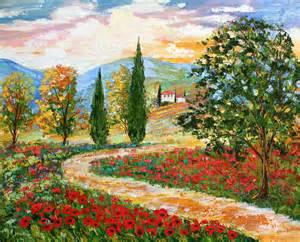 Kitchen Tile Murals Backsplash landscape painting original oil tuscany poppies palette knife